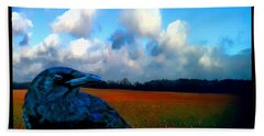 Bath Towel featuring the photograph Big Daddy Crow Series Silent Watcher by Lesa Fine
