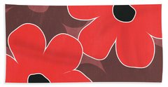 Big Red And Marsala Flowers Hand Towel