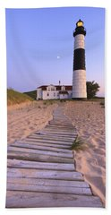 Big Sable Point Lighthouse Bath Towel by Adam Romanowicz