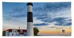 Bath Towel featuring the photograph Big Sable Point Lighthouse Sunset by Sebastian Musial