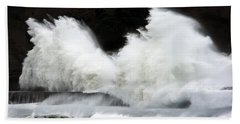 Big Waves Breaking On Breakwater Bath Towel