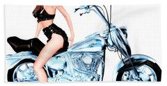 Biker Girl Bath Towel by Renate Janssen