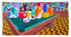 Billiard Table Hand Towel by Lorna Maza