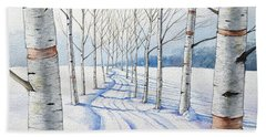 Birch Trees Along The Curvy Road Hand Towel