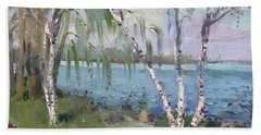 Birch Trees By The River Hand Towel