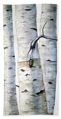 Birch Trees In Watercolor Bath Towel