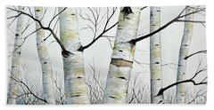 Birch Trees In The Forest In Watercolor Hand Towel