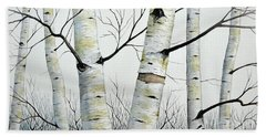 Birch Trees In The Forest By Christopher Shellhammer Hand Towel
