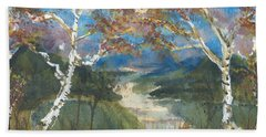 Birch Trees On The Ridge  Hand Towel
