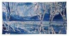 Birches In Blue Bath Towel by Ellen Levinson