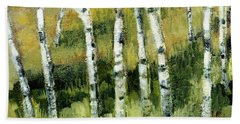 Birches On A Hill Bath Towel by Michelle Calkins