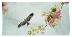 Bird And Pink And Green Flowering Branch On Blue Hand Towel by Brooke T Ryan