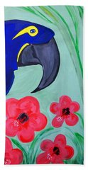 Hand Towel featuring the painting Bird In Paradise   by Nora Shepley