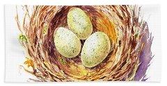 Bird Nest A Happy Trio Hand Towel by Irina Sztukowski