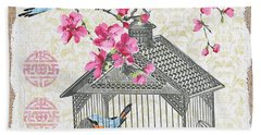 Birdcage With Cherry Blossoms-jp2611 Hand Towel