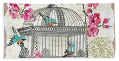 Birdcage With Cherry Blossoms-jp2612 Hand Towel