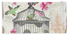 Birdcage With Cherry Blossoms-jp2613 Hand Towel
