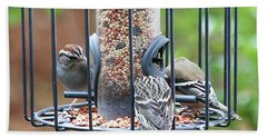 Birds At Lunch Bath Towel by Ellen O'Reilly