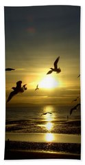 Birds Gathering At Sunset Bath Towel
