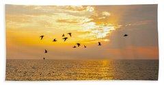 Birds In Lake Erie Sunset Bath Towel