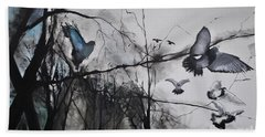 Birds Bath Towel by Maja Sokolowska