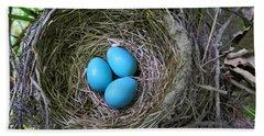 Birds Nest American Robin Hand Towel by Christina Rollo