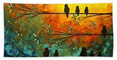 Birds Of A Feather Original Whimsical Painting Hand Towel