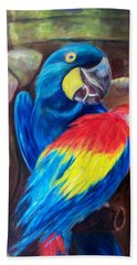 Bird's Of A Feather, Macaws Hand Towel