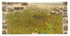 Birdseye Map Of Denver Colorado - 1908 Bath Towel by Eric Glaser