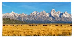 Bison Beneath The Tetons Limited Edition Panorama Hand Towel