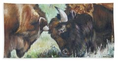 Bath Towel featuring the painting Bison Brawl by Lori Brackett