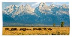 Bison Herd Hand Towel