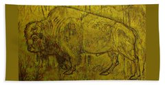 Golden  Buffalo Bath Towel by Larry Campbell