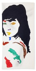 Hand Towel featuring the painting Bjork by Stormm Bradshaw