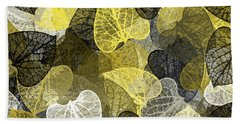 Hand Towel featuring the mixed media Black And Gold Leaf Pattern by Christina Rollo