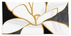Black And Gold Magnolia- Floral Art Bath Towel