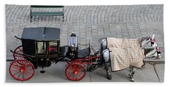 Bath Towel featuring the photograph Black And Red Horse Carriage - Vienna Austria  by Imran Ahmed