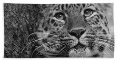 Black And White Amur Leopard Bath Towel