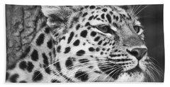 Black And White - Amur Leopard Portrait Bath Towel