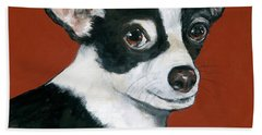 Black And White Chihuahua Bath Towel