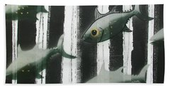 Black And White Fish Bath Towel