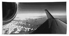 Hand Towel featuring the photograph Jet Pop Art Plane Black And White  by R Muirhead Art