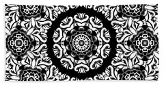 Black And White Medallion 10 Bath Towel