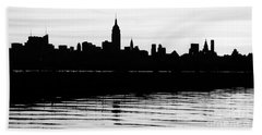 Bath Towel featuring the photograph Black And White Nyc Morning Reflections by Lilliana Mendez