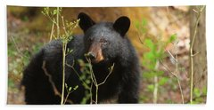 Bath Towel featuring the photograph Black Bear by Geraldine DeBoer