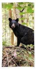 Black Bear Smile Bath Towel by Debbie Green