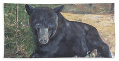 Hand Towel featuring the painting Black Bear - Wildlife Art -scruffy by Jan Dappen