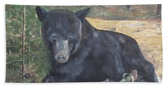 Black Bear - Wildlife Art -scruffy Bath Towel