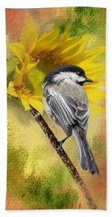 Black Capped Chickadee Checking Out The Sunflowers Hand Towel