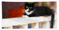 Black Cat In Color Series 2 Bath Towel